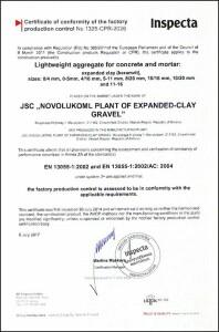 Сертификат СЕ ЕН 13055-1 angl